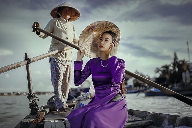 asian woman in purple dress