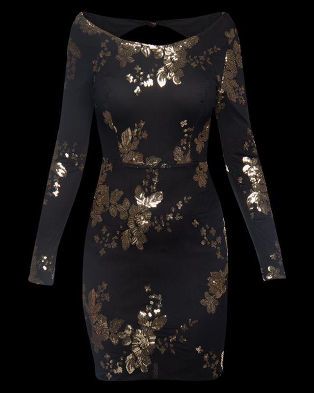 черно-золотое платье