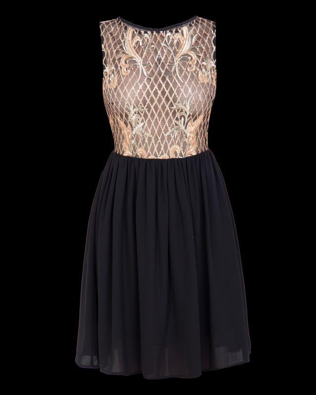 Новогоднее черно-золотое платье