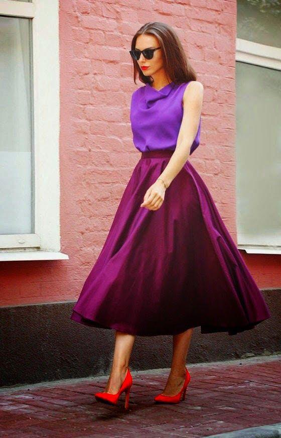 С чем носить фиолетовую блузку