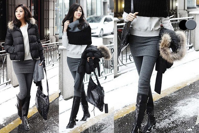 Короткая юбка и леггинсы как носить