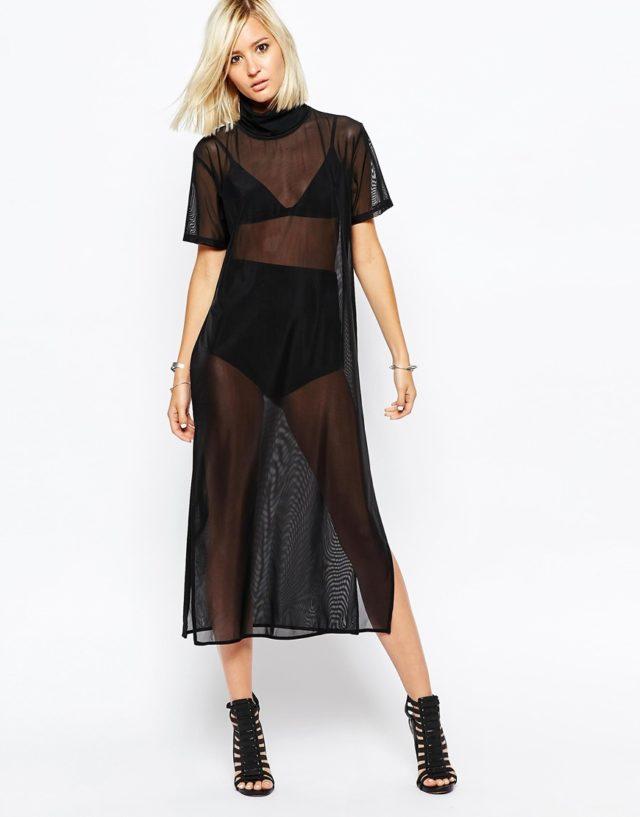 Черное прозрачное платье из тюля