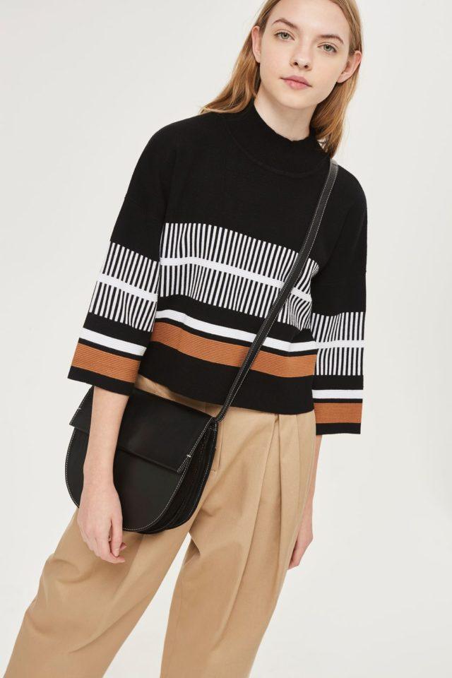 Черный свитер с полосами