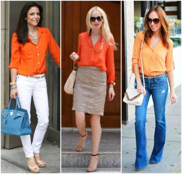 Как носить оранжевую блузку