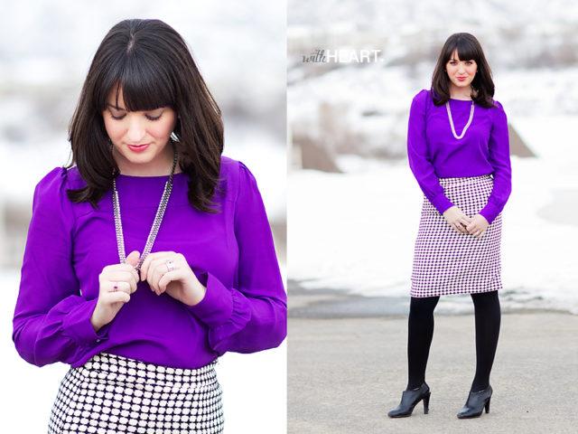 Сиреневая блузка, как носить